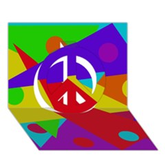 Colorful abstract design Peace Sign 3D Greeting Card (7x5)