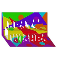 Colorful abstract design Best Wish 3D Greeting Card (8x4)