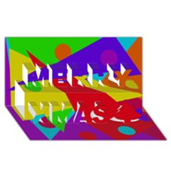 Colorful abstract design Merry Xmas 3D Greeting Card (8x4)