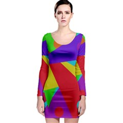 Colorful abstract design Long Sleeve Bodycon Dress