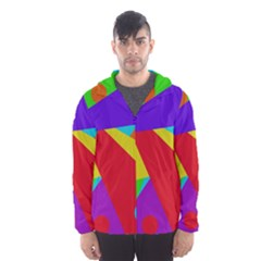 Colorful abstract design Hooded Wind Breaker (Men)
