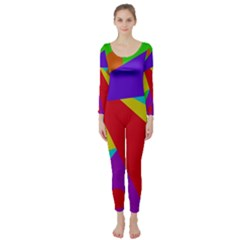 Colorful abstract design Long Sleeve Catsuit