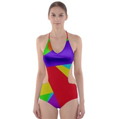 Colorful abstract design Cut-Out One Piece Swimsuit