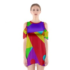 Colorful Abstract Design Cutout Shoulder Dress