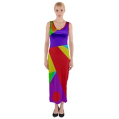 Colorful abstract design Fitted Maxi Dress