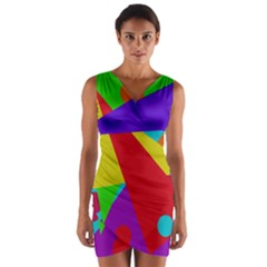 Colorful abstract design Wrap Front Bodycon Dress