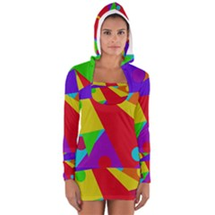 Colorful Abstract Design Women s Long Sleeve Hooded T Shirt