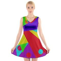Colorful abstract design V-Neck Sleeveless Skater Dress