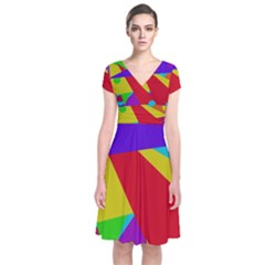 Colorful abstract design Short Sleeve Front Wrap Dress