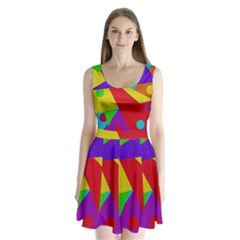 Colorful abstract design Split Back Mini Dress