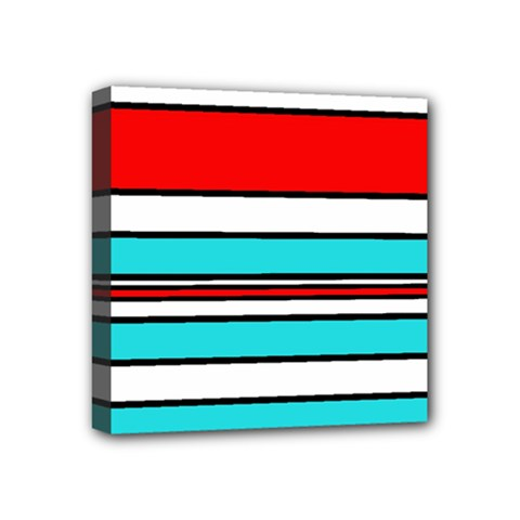 Blue, red, and white lines Mini Canvas 4  x 4