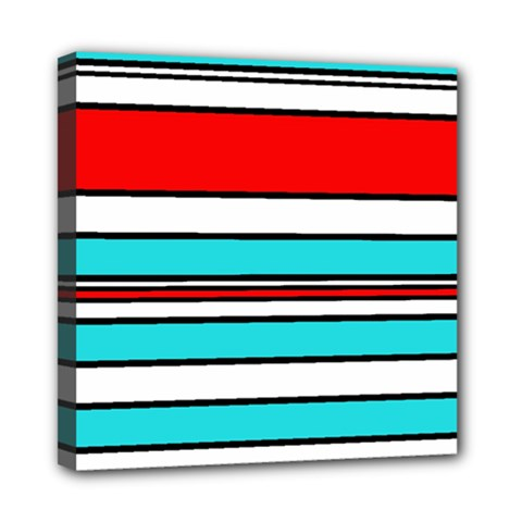 Blue, red, and white lines Mini Canvas 8  x 8