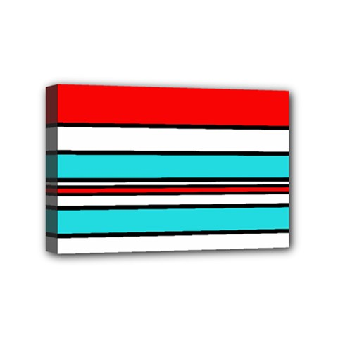 Blue, red, and white lines Mini Canvas 6  x 4