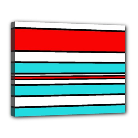 Blue, red, and white lines Canvas 14  x 11