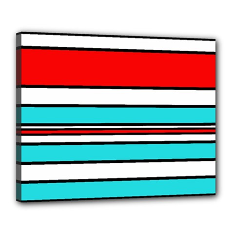 Blue, red, and white lines Canvas 20  x 16