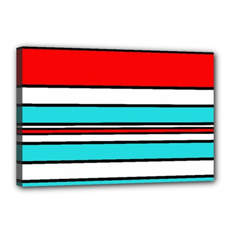 Blue, red, and white lines Canvas 18  x 12