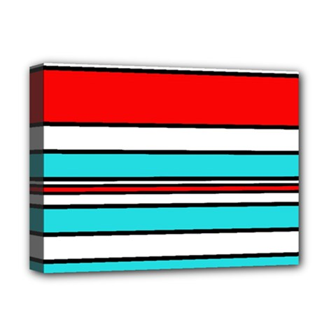 Blue, red, and white lines Deluxe Canvas 16  x 12