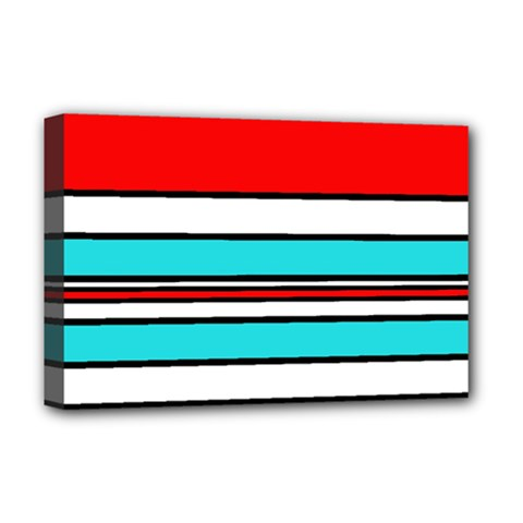 Blue, red, and white lines Deluxe Canvas 18  x 12
