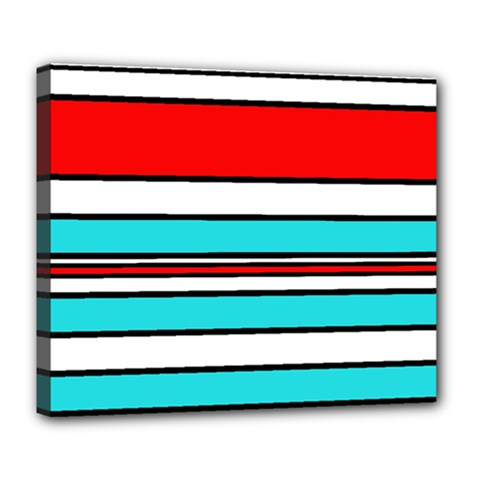 Blue, red, and white lines Deluxe Canvas 24  x 20