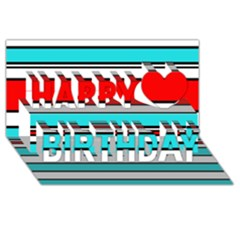 Blue, red, and white lines Happy Birthday 3D Greeting Card (8x4)