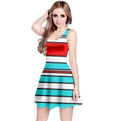 Blue, red, and white lines Reversible Sleeveless Dress