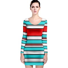 Blue, red, and white lines Long Sleeve Bodycon Dress