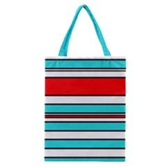 Blue, red, and white lines Classic Tote Bag