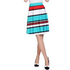 Blue, red, and white lines A-Line Skirt