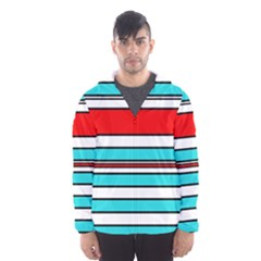 Blue, red, and white lines Hooded Wind Breaker (Men)