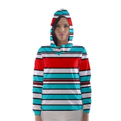 Blue, red, and white lines Hooded Wind Breaker (Women)
