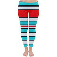 Blue, red, and white lines Winter Leggings