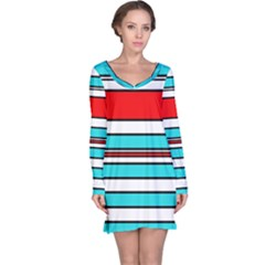 Blue, red, and white lines Long Sleeve Nightdress