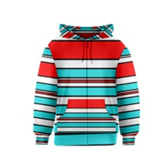 Blue, red, and white lines Kids  Zipper Hoodie