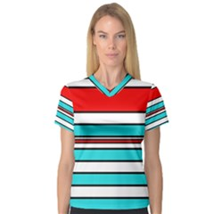 Blue, red, and white lines Women s V-Neck Sport Mesh Tee