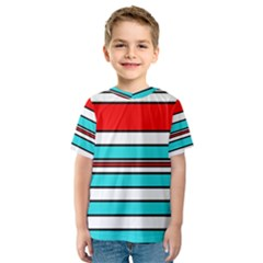 Blue, red, and white lines Kid s Sport Mesh Tee