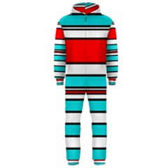 Blue, red, and white lines Hooded Jumpsuit (Men)