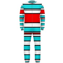 Blue, red, and white lines OnePiece Jumpsuit (Men)
