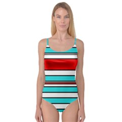 Blue, red, and white lines Camisole Leotard
