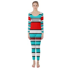 Blue, red, and white lines Long Sleeve Catsuit