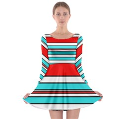 Blue, red, and white lines Long Sleeve Skater Dress