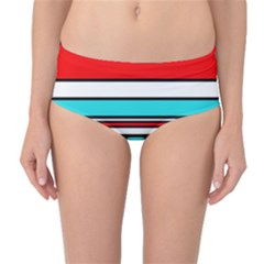 Blue, red, and white lines Mid-Waist Bikini Bottoms