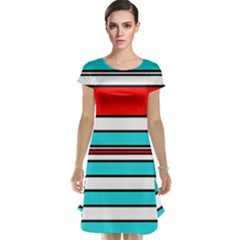 Blue, red, and white lines Cap Sleeve Nightdress