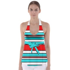 Blue, red, and white lines Babydoll Tankini Top