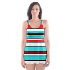 Blue, Red, And White Lines Skater Dress Swimsuit