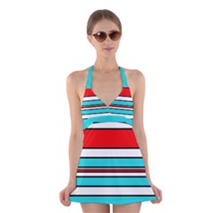 Blue, red, and white lines Halter Swimsuit Dress