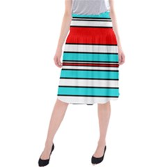 Blue, red, and white lines Midi Beach Skirt