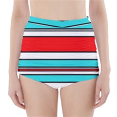 Blue, red, and white lines High-Waisted Bikini Bottoms