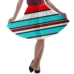 Blue, red, and white lines A-line Skater Skirt