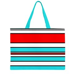 Blue, red, and white lines Zipper Large Tote Bag