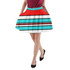 Blue, red, and white lines A-Line Pocket Skirt
